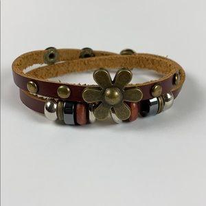Jewelry - FLOWER DOUBLE WRAP LEATHER BRACELET